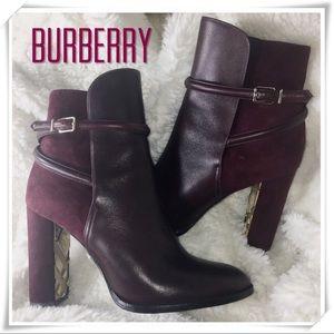 SALE EUC Burberry Plum Wine Suede/Leather Boots